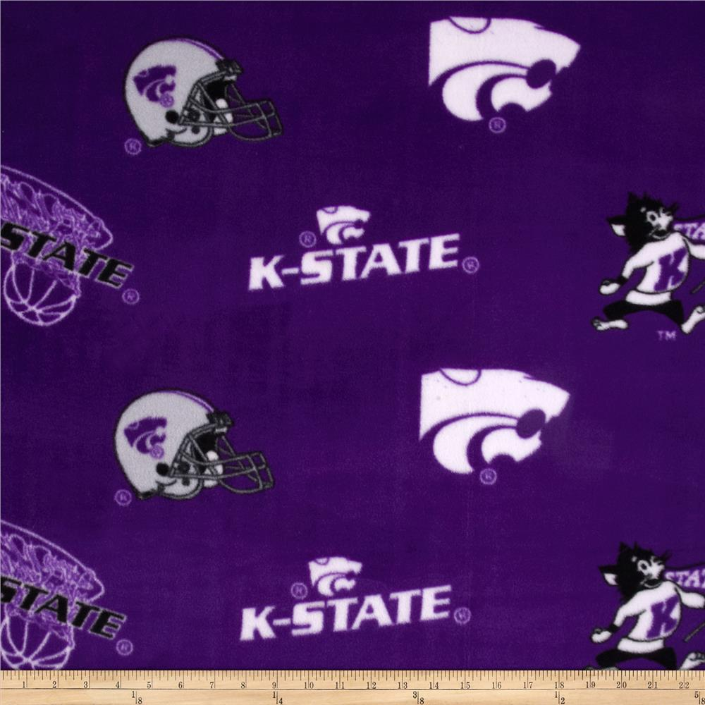 Collegiate Fleece Kansas State Tossed Purple/White Fabric By The Yard