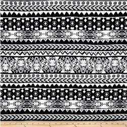 Cotton Spandex Jersey Knit Geometric Aztec Midnight Black/White