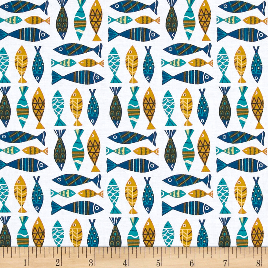 INOpets.com Anything for Pets Parents & Their Pets Seaside Fish White Fabric
