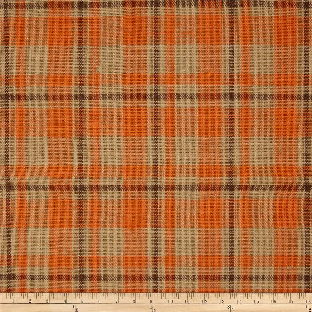 60 Sultana Burlap Plaid Orange Discount Designer Fabric