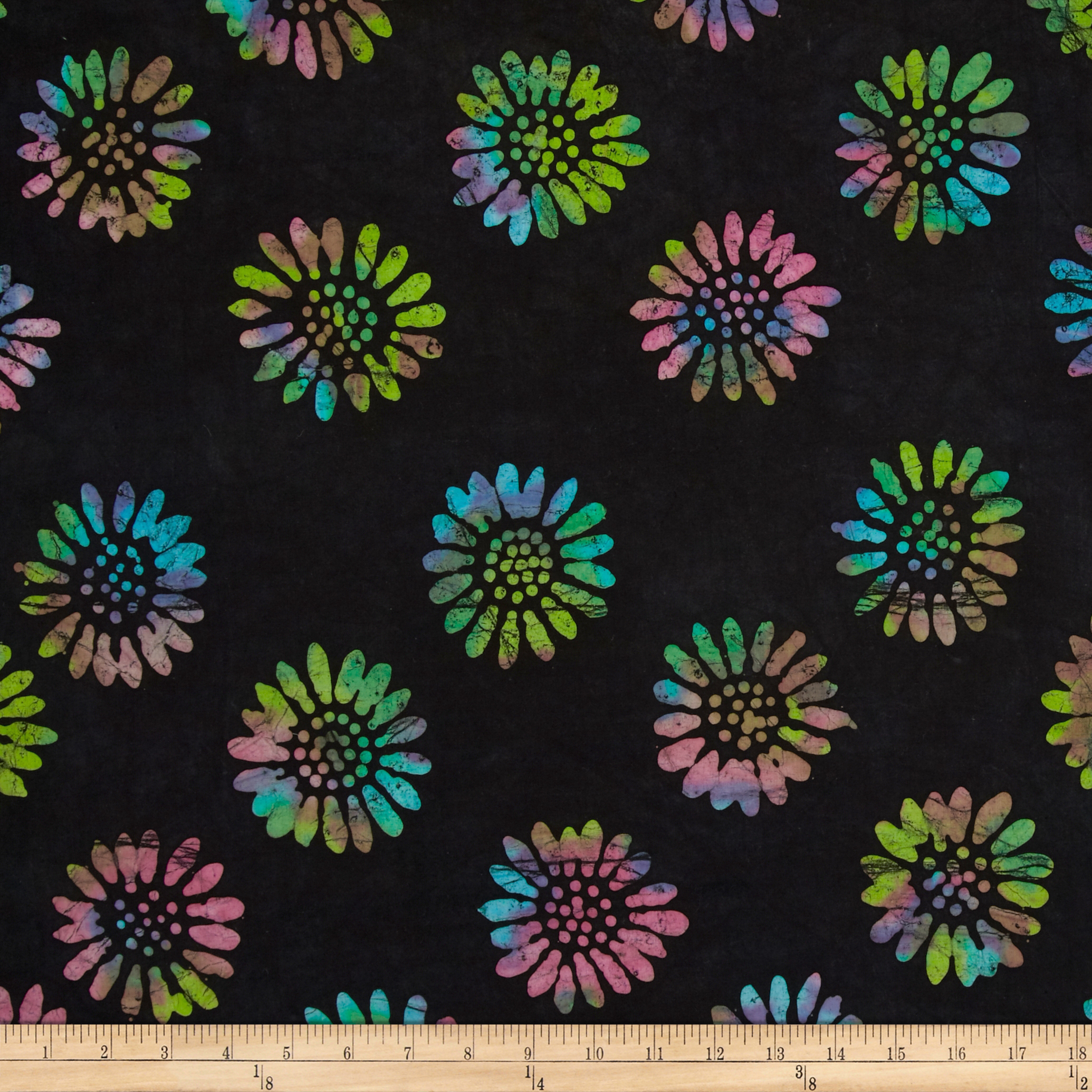 Indian Batik Daisy Black/Multi Fabric