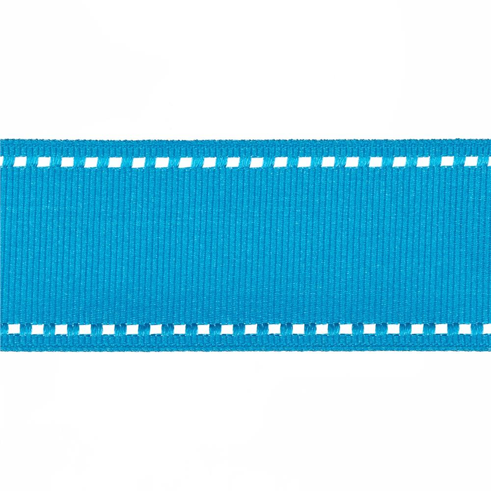 "May Arts 1 1/2"" Grosgrain Stitched Edge Ribbon Spool Turquoise/White"