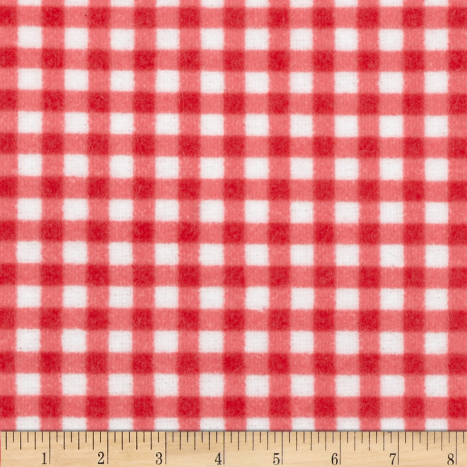 Zig Zag Zoo Flannel Gingham Pink/White Fabric
