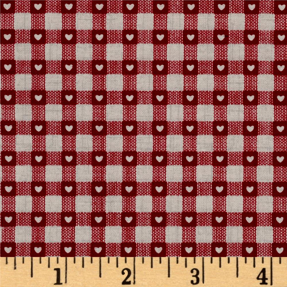 Scandi 3 Heart Plaid Linen/Red