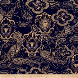 Stretch ITY Jersey Knit Paisley Swirl Navy/Tan