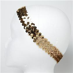 "1 1/4"" Metallic Sequin Stretch Headband Gold"