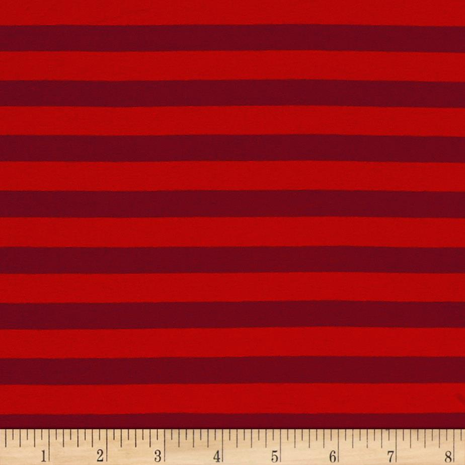 Jersey Knit Stripe Red/Burgundy Fabric