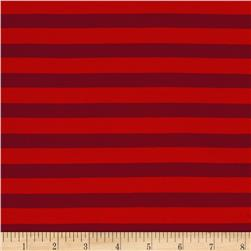 Rayon Jersey Knit Stripe Red/Burgundy