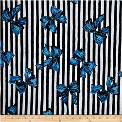 Soft Jersey Knit Stripes and Bows Blue/Black/White
