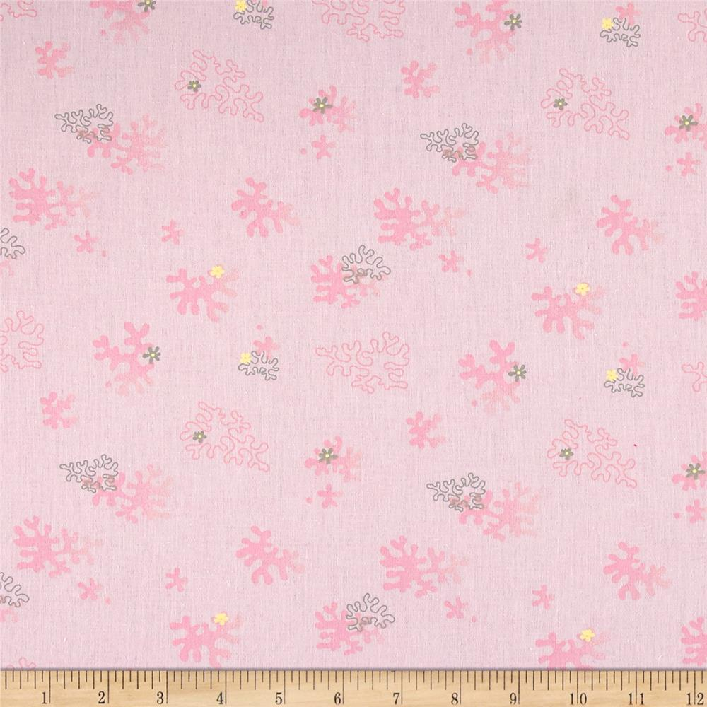 French Designer Cotton Broadcloth Tossed Sea Coral Pink Fabric