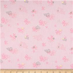 French Designer Cotton Broadcloth Tossed Sea Coral Pink
