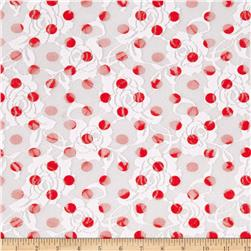 Stretch Lace Dots Red/White