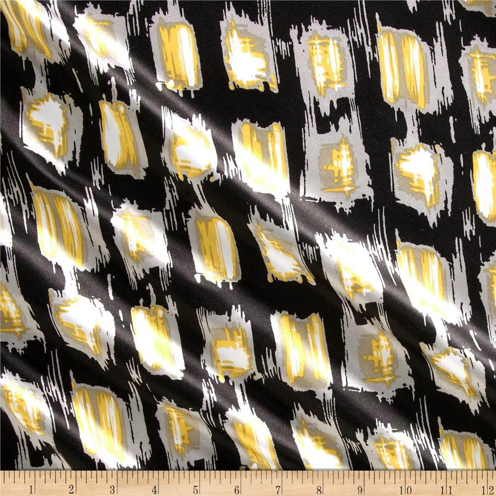 Charmeuse Satin Ikat Square Black/Yellow Fabric