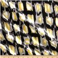Charmeuse Satin Ikat Square Black/Yellow