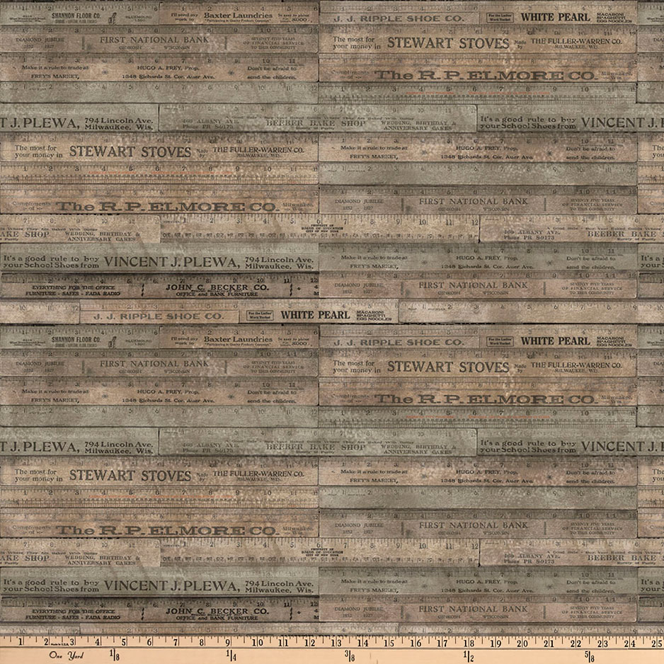 Tim Holtz Eclectic Elements Rulers Brown Fabric by Westminster in USA
