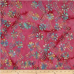 Indian Batik Tossed Flowers & Stripes Hot Pink