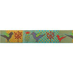 "7/8"" Sue Spargo Ribbon Birds & Trees Turquoise/Gold"