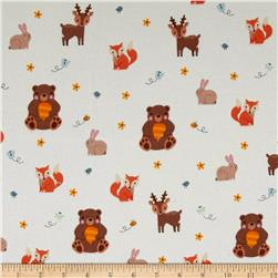 Kaufman Woodland Hideaway Flannel Animal Collage Ivory
