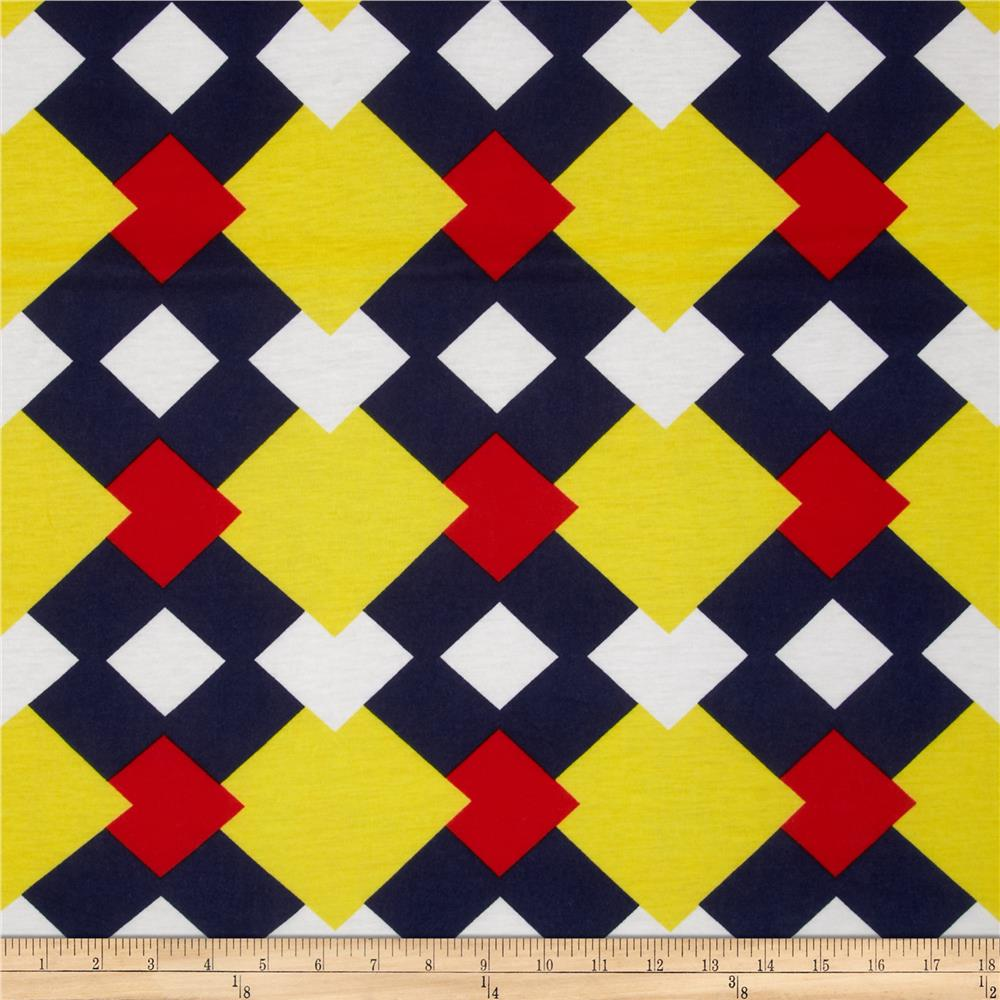 Soft Jersey Knit Squares Navy/Red/Yellow/White