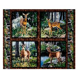 Cradle Rock Deer Pillow 36 In. Panel Multi