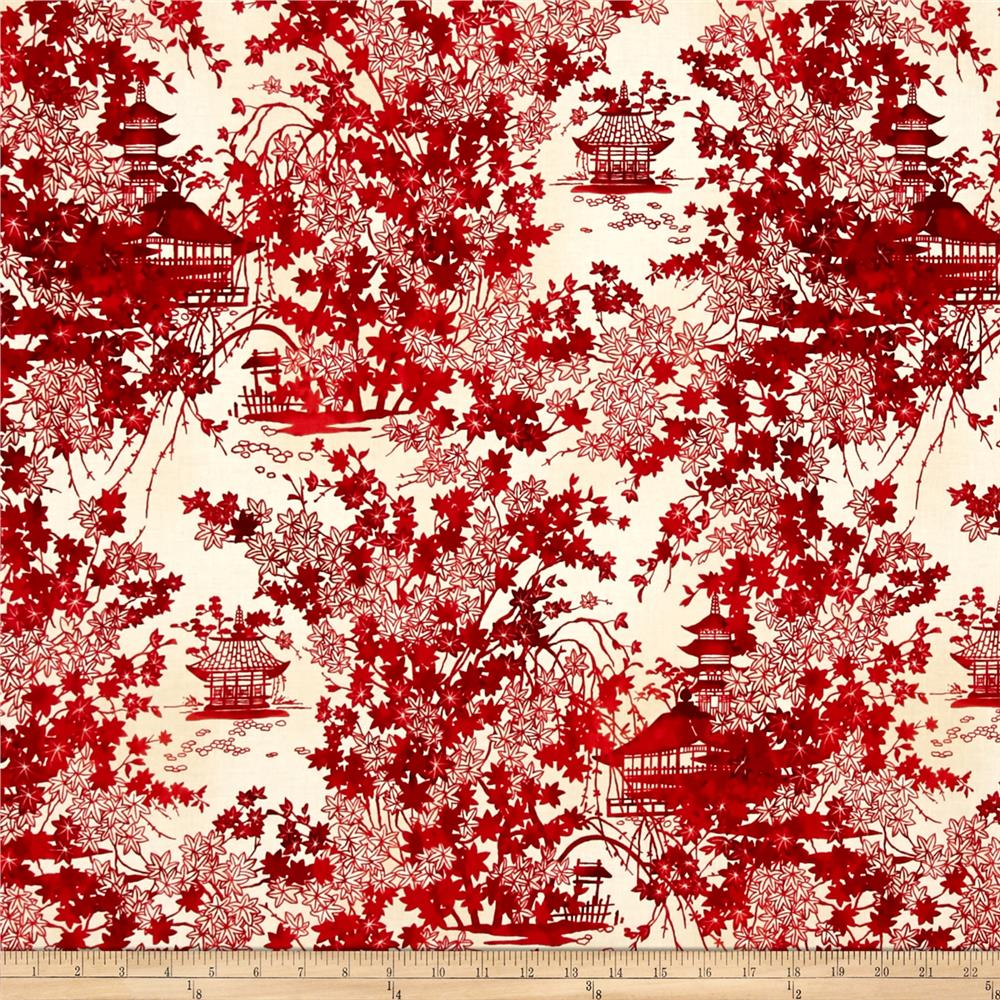 Kaufman Imperial Collection Toile Crimson