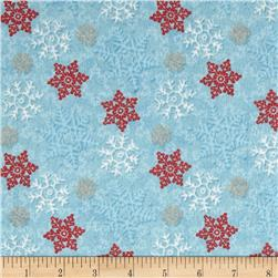 Cocoa & Cookies Flannel Snowflakes Blue Fabric