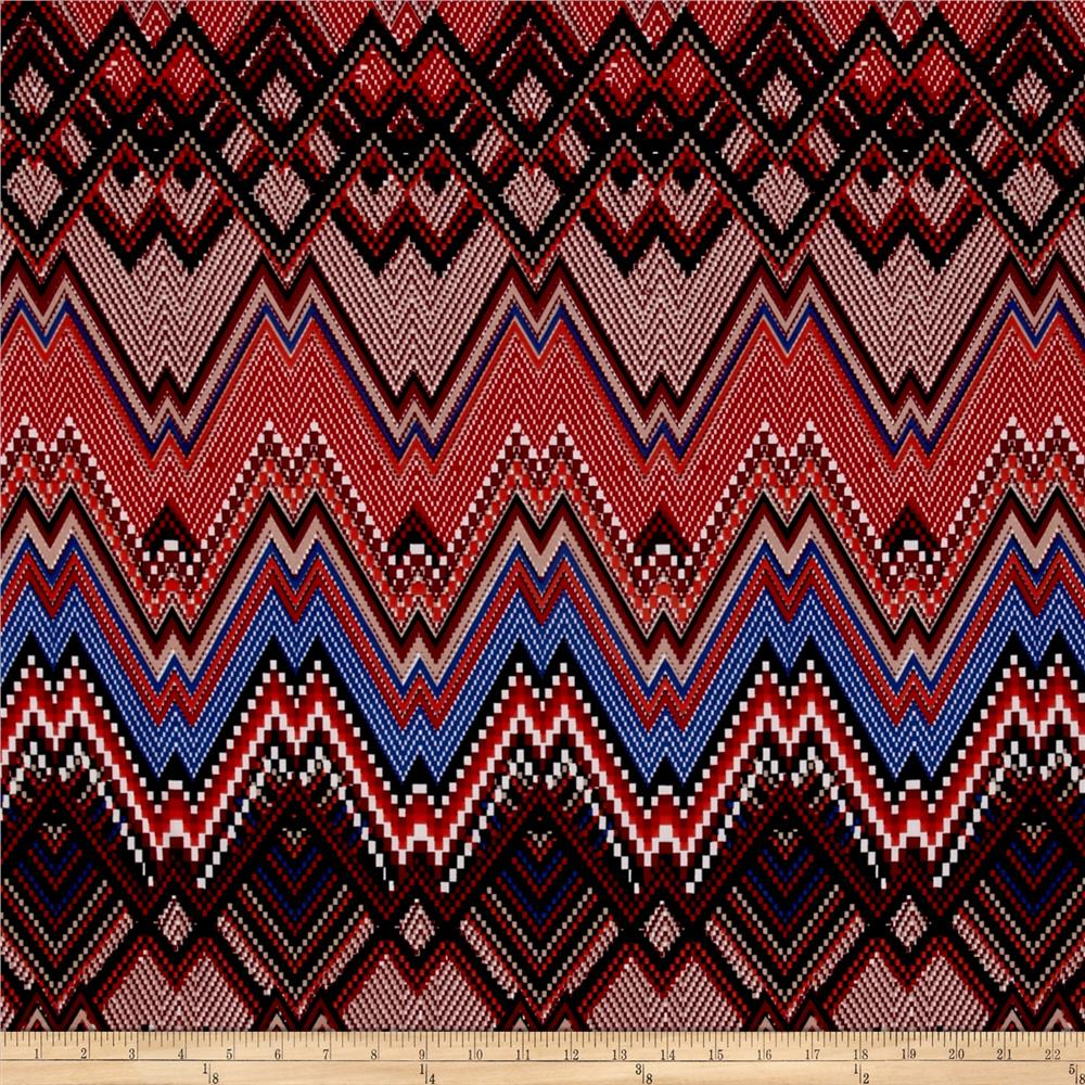 Stretch ITY Jersey Knit Aztec Chevron Pixel-Red/Brown/Blue