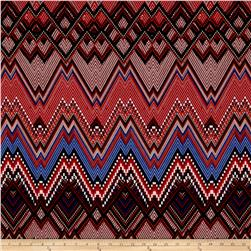 ITY Jersey Knit Aztec Chevron Pixel-Red/Brown/Blue