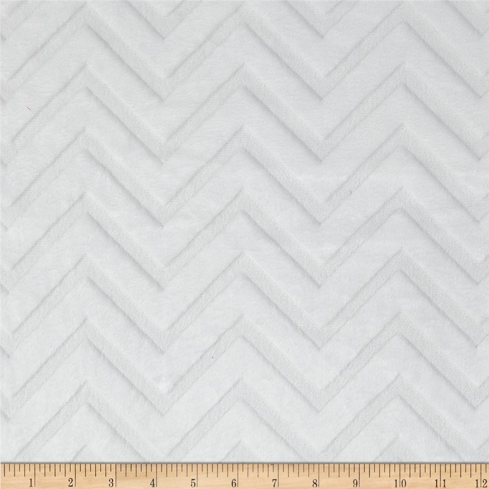 Shannon Minky Embossed Chevron Cuddle White - Discount Designer ...