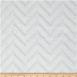 Shannon Minky Cuddle Embossed Chevron White