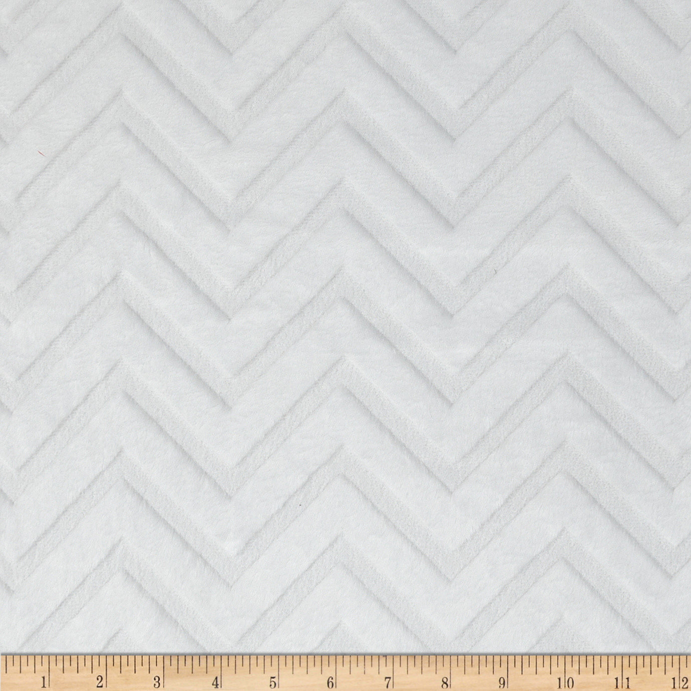 Minky Cuddle Embossed Chevron White Fabric