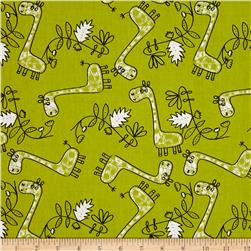 Safari Scribble Tossed Giraffes Green