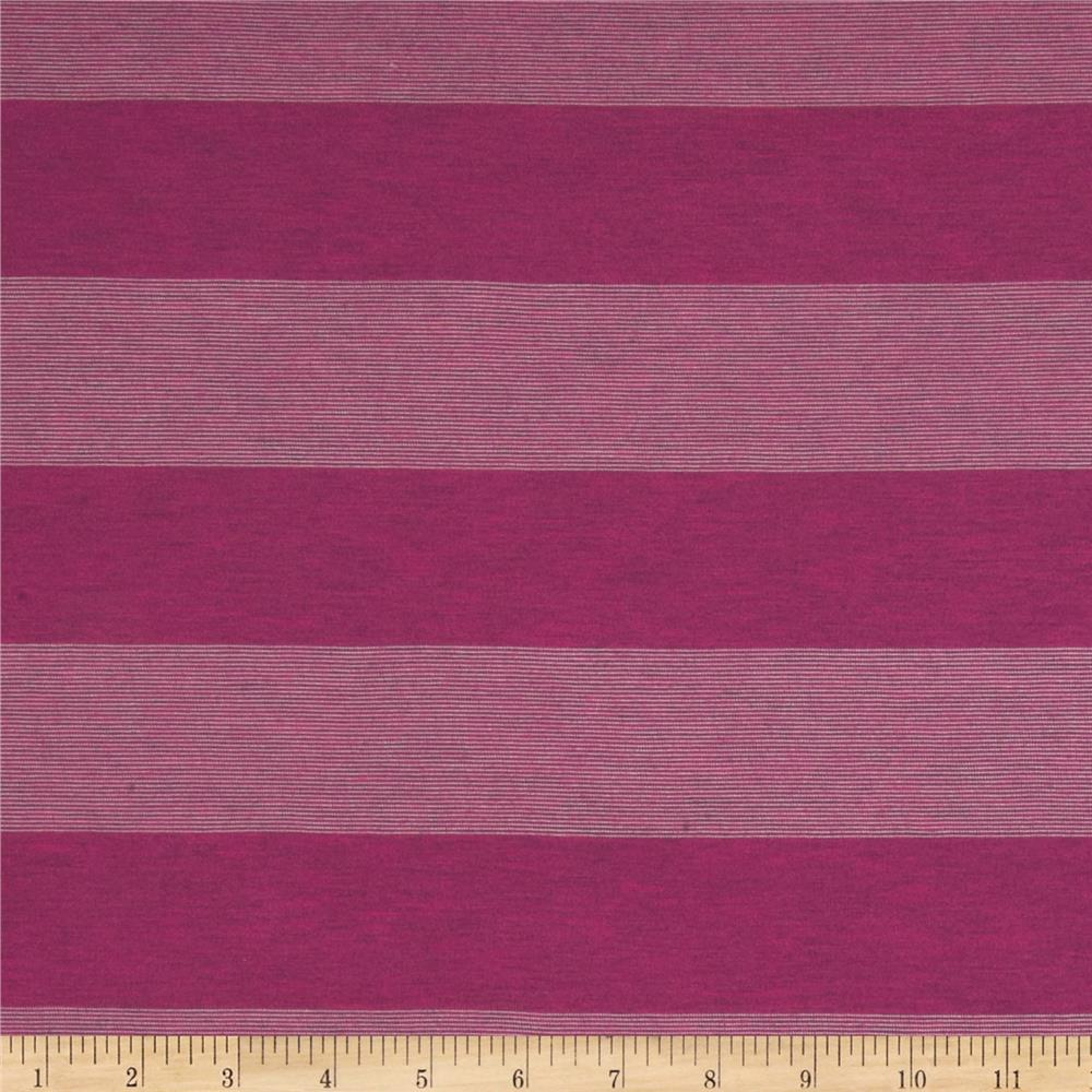 Stretch Yarn Dyed Jersey Knit Stripes Dark Pink