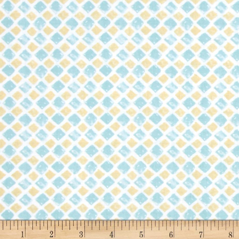 Paris Forever Tiles Blue/Yellow Fabric By The Yard