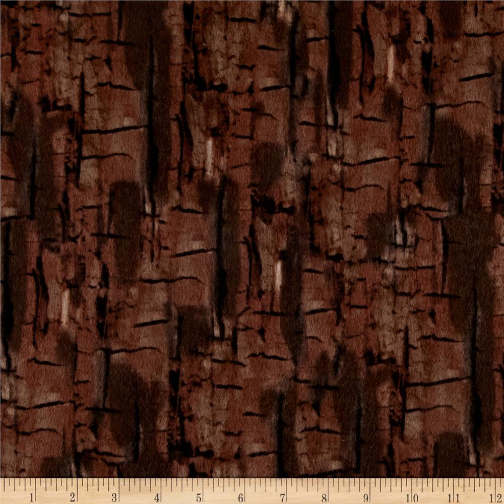 Kanvas Into the Woods Flannel Bark Dark Brown Fabric
