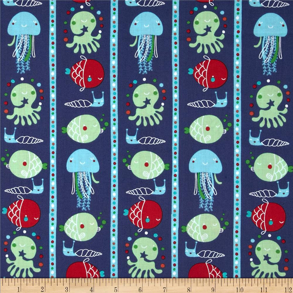 Ahoy matey fish stripe navy discount designer fabric for Fish fabric for quilting
