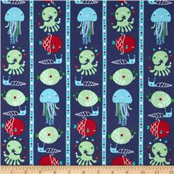 Ahoy Matey Fish Stripe Navy Fabric