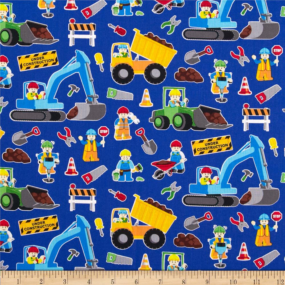 Timeless treasures construction zone royal discount for Kids fabric by the yard