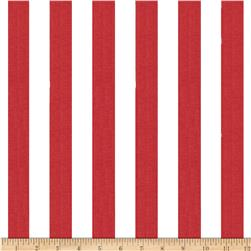 Cotton Blend Broadcloth 1 in. Stripe Red/White Fabric