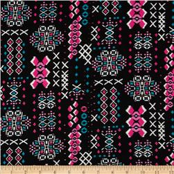 Stretch Rayon Jersey Knit Aztec Print Black/Turquoise Fabric