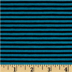 Poly Rayon Spandex Mini Stripe Turqouise/Black