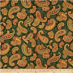 Holiday Flourish 6 Paisley Metallic Evergreen