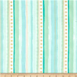 Michael Miller Sarah Jane Magic Metallic Stars and Stripes Aqua