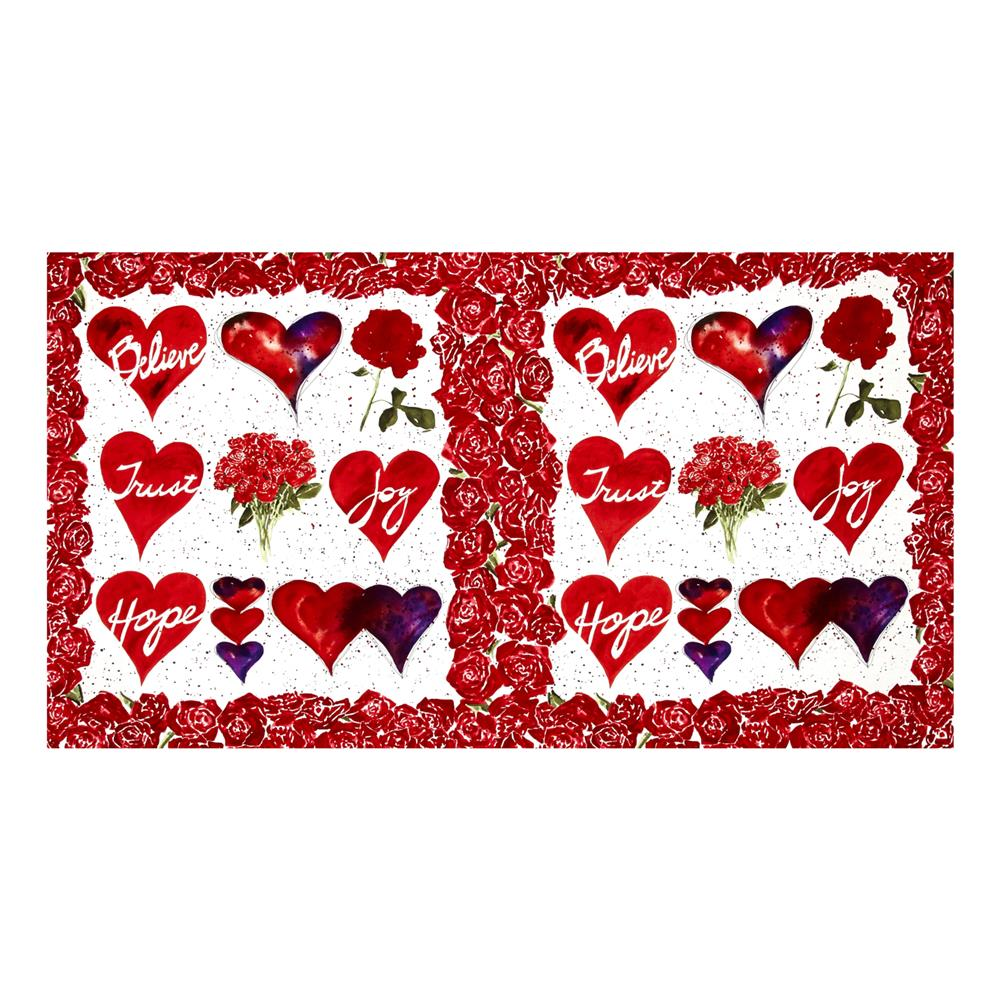 Heartfelt  24'' Panel White Fabric By The Yard