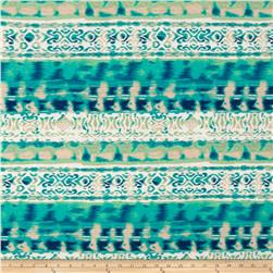 Rayon Jersey Knit Abstract Turquoise/Green/Cream