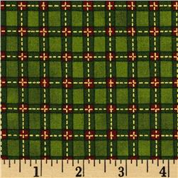 Christmas Tidings Metallic Plaid Green