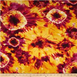 Designer Stretch Jersey Knit Tie Dye Orange/Fuchsia