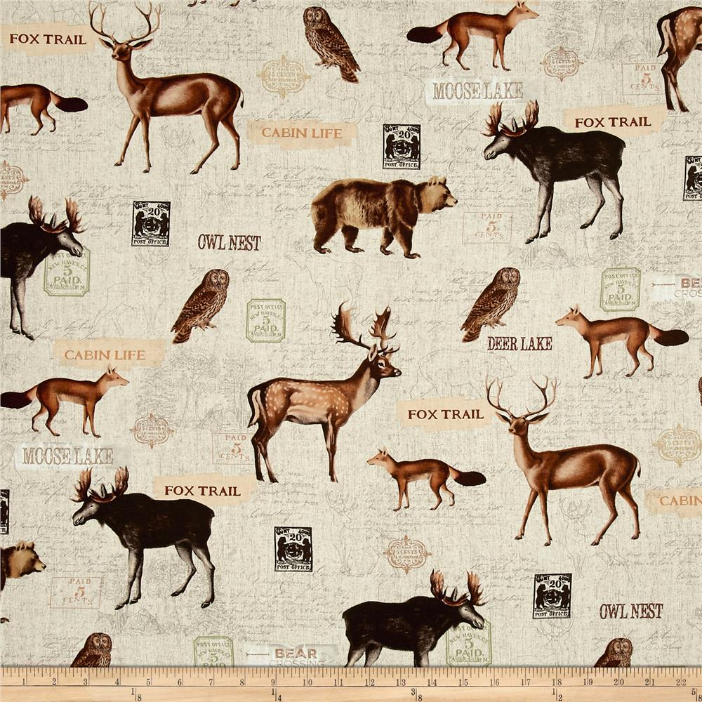Timeless Treasures Wilderness Woodland Animals Collage Natural