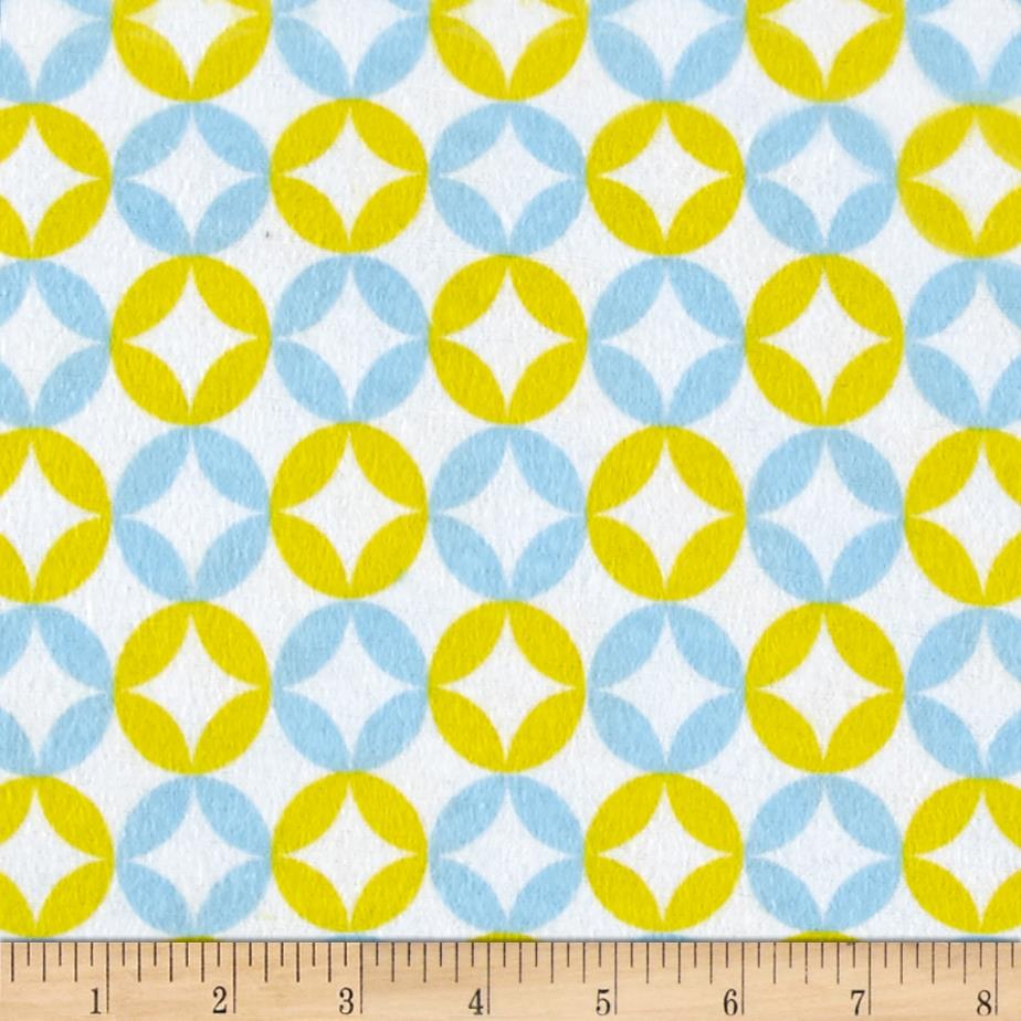 Flannel Floral Mosaic Blue Yellow