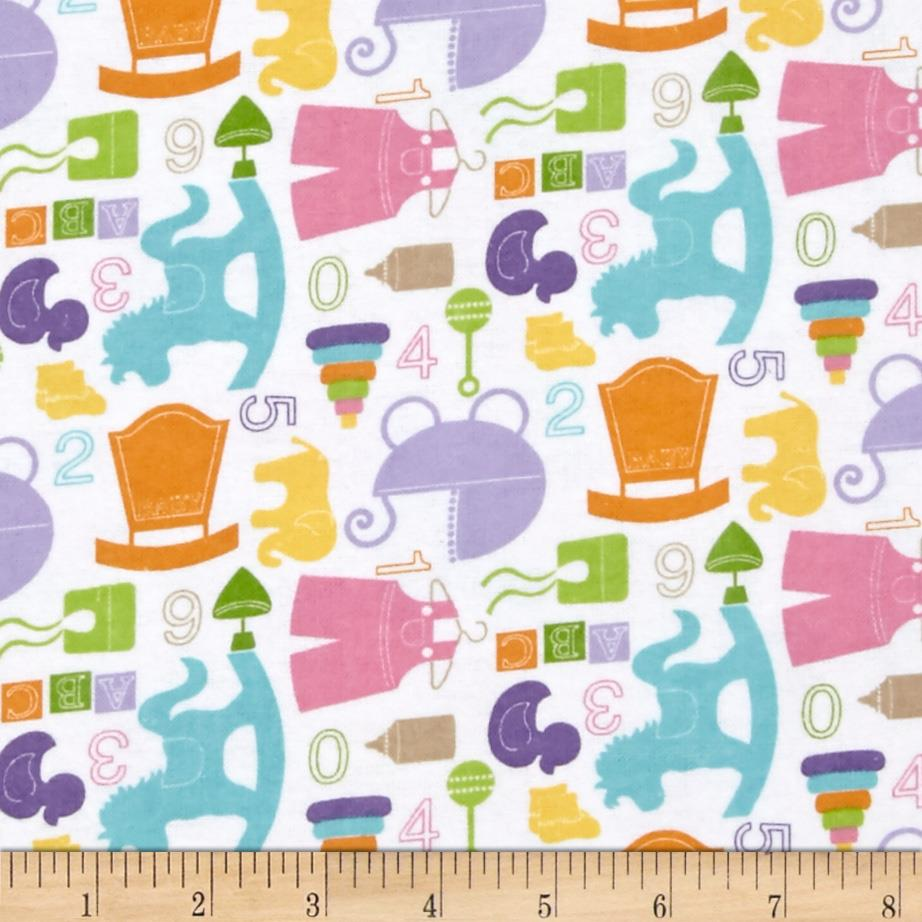 Alpine flannel baby girl white discount designer fabric for Cheap baby fabric